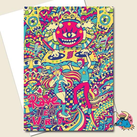 Rave Greetings Card Birthday Card Greeting Cards Bday Card Etsy