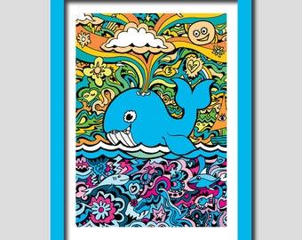 Whale Art Print, Wall Art, A3 Art Print, Animal Art, Art Deco, Nursery Wall Art, Art For Kids, Cute Art, Children Art, Boys Gift, Girls Gift
