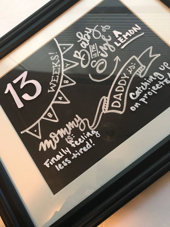 Pregnancy Month Signs, Chalkboard, Pregnancy Month by Month, Growing Belly, Mommy's Tummy, Handlettered Chalkboards, Pregnancy Announcement