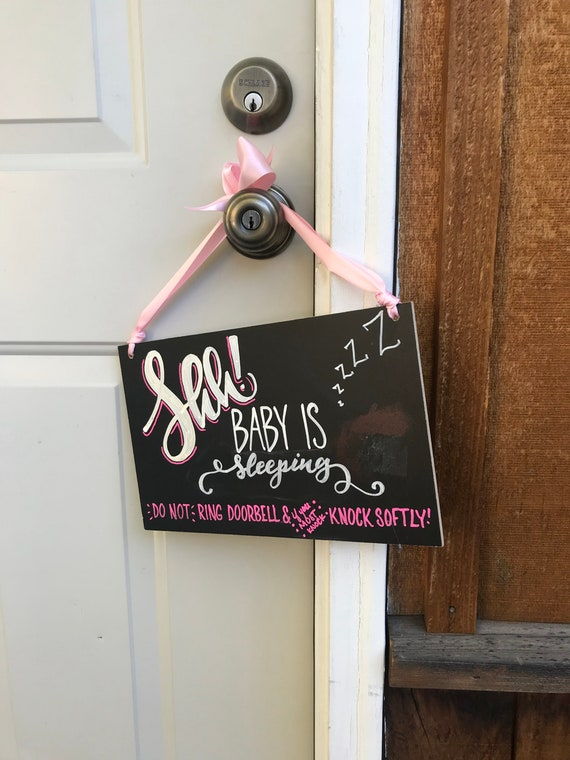 Baby Is Sleeping Sign, Baby Chalkboard, House Sign, Doorbell sign, new baby gift, baby shower gift, knock softly sign