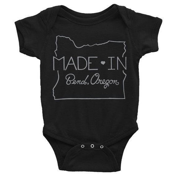 Made in Bend Oregon Onesie, Hand Drawn Onesie, Funny Onesie, Gift for baby shower, Made in Bend Oregon Baby Onesie