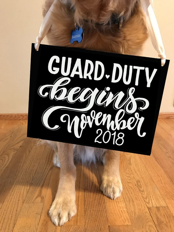 Baby Announcement, Baby Guard Duty Starting Sign, Expecting Sign, Dog Sign Announcement, Baby Sign, Custom Chalkboard