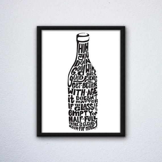 Word Art Wine Bottle Wall Decor, Handdrawn Art, Wine Art, Wine Decor, Wine Wall Decor, Wine Wall Art, Digital Download, Printable