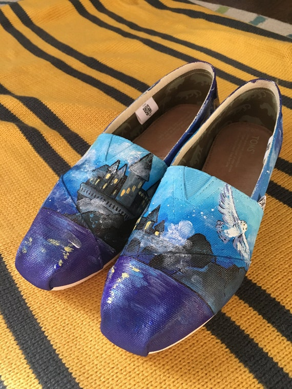Harry Potter Inspired Hand Painted Toms Shoes, Harry Potter Toms