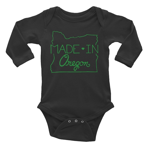 Made in Oregon Onesie, Hand Drawn Onesie, Funny Onesie, Gift for baby shower, Made in Bend Oregon Baby Onesie