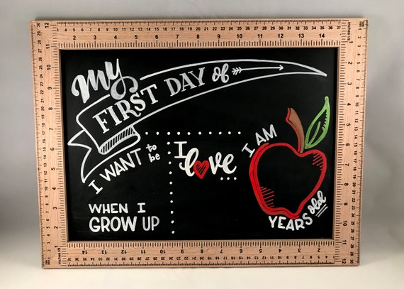 First Day of School, Growth Chart, Chalkboard for Kids, Children's School Board, Gift for Parents, New School Year, Custom Chalkboard
