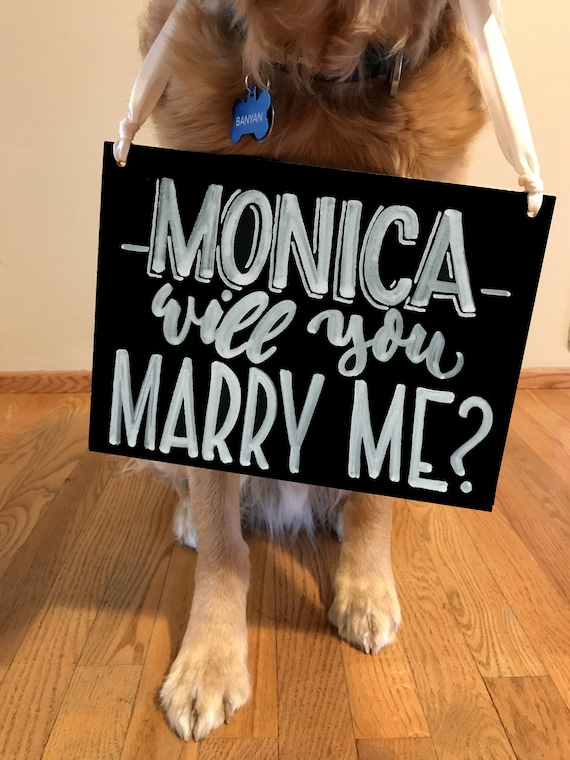 "Custom ""Will You Marry Me?"" Engagement Sign, Engagement Chalkboard, Dog Sign, Wedding Sign, Custom Chalkboard, Photo Prop"