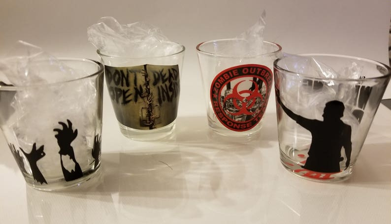 Walking Dead Shot Glasses- Choose one design Walkers Rick Grimes Zombies Special Order Welcome- Daryl Dixon
