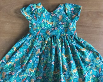 Rifle Paper jungle scoop back dress for baby