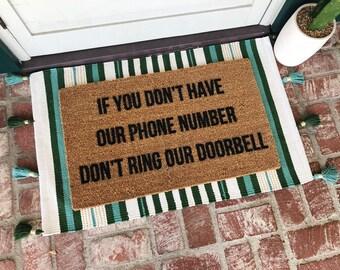 Phone Number Doormat - Doormats - Welcome Mat - Funny Doormats - Custom Doormat - Shop Josie B - Cute Doormats - Rug - Custom Mat -