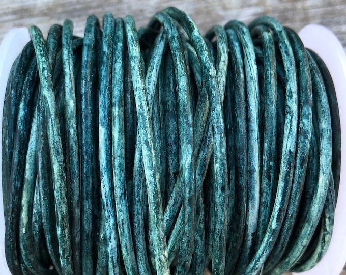 1.5mm Weathered Green Round Leather Cord, By The Yard Premium Leather Cord Green Weathered Distressed LCR1.5 - Weathered Green #17