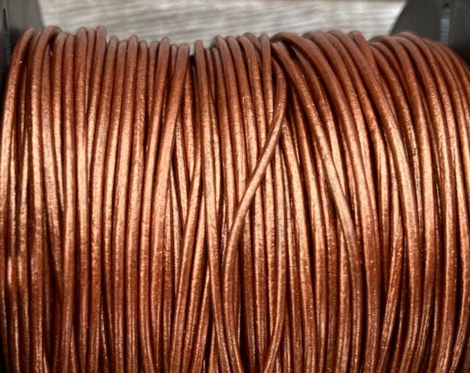 1mm Leather Cord - Copper Metallic Round Leather Cord - Premium European Leather Cord - LCR1 - 200 #13 Metallic Copper