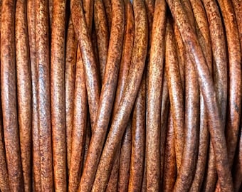 4mm Round Leather Cord, Natural Brown, Premium Quality 4mm Round Leather Cord  LCR4 - Natural Brown #7