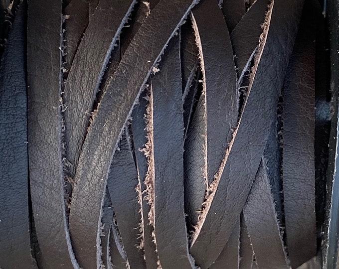 5mm Dark Brown Deertan Lace Flat Leather Cord, 1mm Thick, Dark Brown Water Resistant Italian Calf Hide, Dark Brown