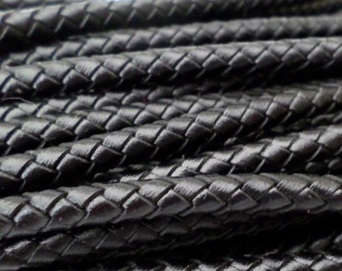 6mm Black Bolo Braided Leather Cord Premium German Quality Smooth and Flexible All Leather By The Yard LCBR6 - Black #A