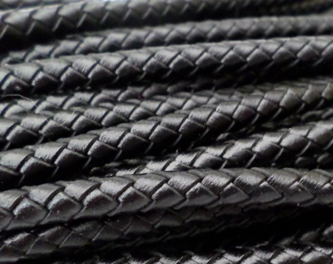 5mm Black Leather Braided Cord, 5MM Black Bolo Leather, Excellent European Quality, All Leather- No Filler, By The Yard LCBR - 5  Black #A