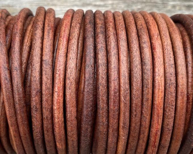 4mm Round Leather Cord, American Walnut, Premium Quality 4mm Round Leather Cord  LCR4 - American Walnut #28