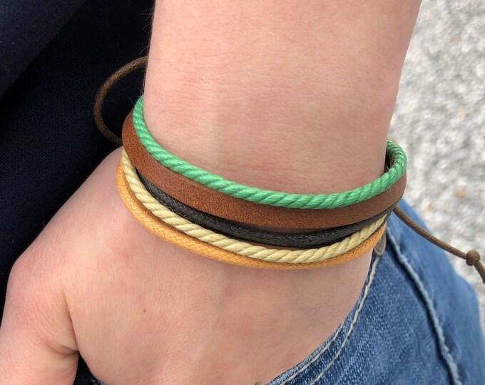 Adjustable Leather Bracelet, Men's Leather Bracelet, Womens Bracelet, Man Bracelet, Leather and Hemp Bracelet, JLA-19-A