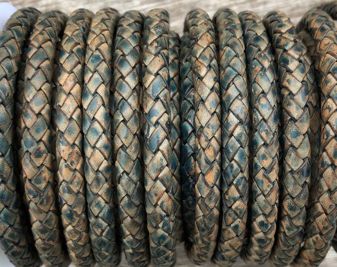 6mm Natural Antique Blue Bolo Braided Leather Cord, Premium Indian Leather Cord, 6mm Bolo Braided Leather LCBR6 - Natural Antique Blue #9