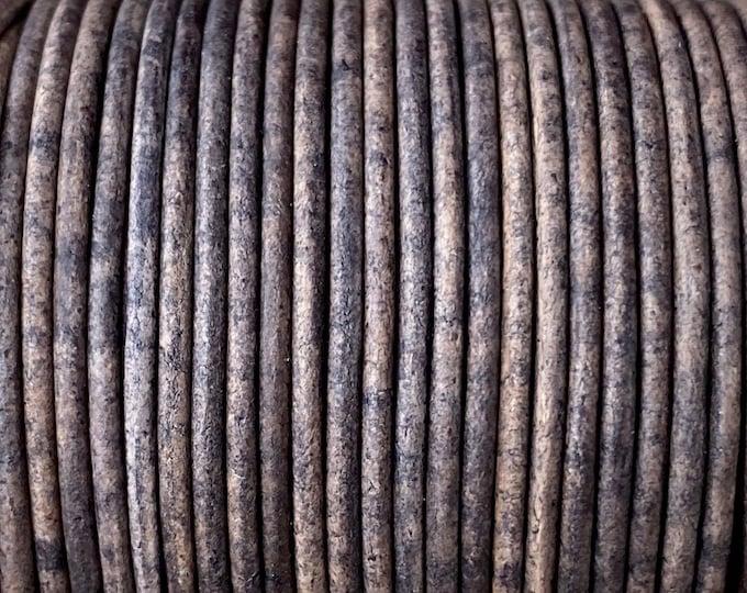 1.5mm Antique Espresso Round Leather Cord 1.5mm, 1 yard to 25 Yards Made In India - LCR1.5 - 1.5mm Antique Espresso #73