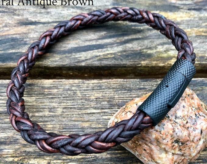 Mens Leather Bracelet, 8mm Premium 8 Ply European Leather, Mens Bracelet, Masculine Thick All Leather Bracelet, , Dad Gift