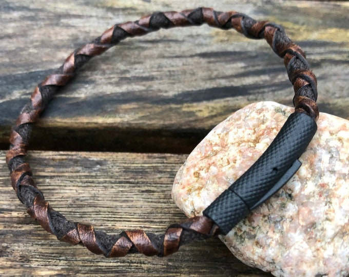 Men's Leather Bracelet, Premium Side Braided Leather With A Stainless Steel Locking Clasp, Gift Under 20, CS-27