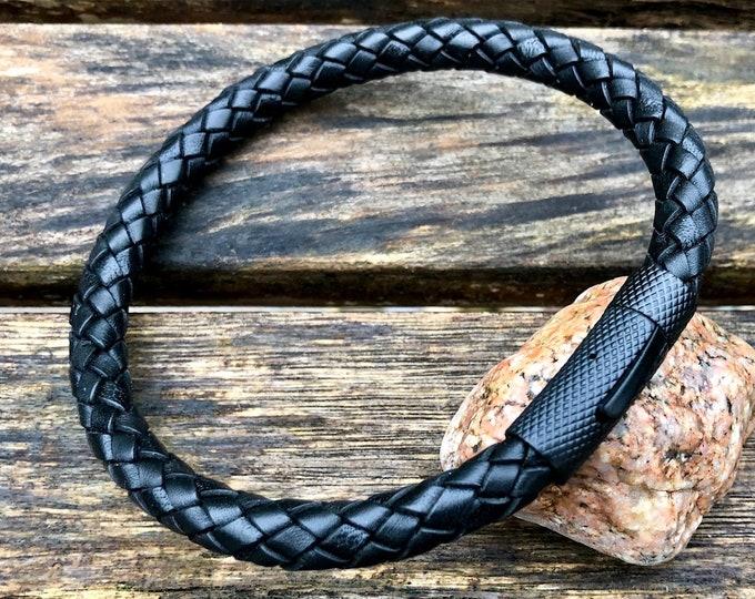 Mens Leather Bracelet, 8mm Premium Black European Leather, Mens Bracelet, Masculine Thick All Leather Bracelet, Dad Gift