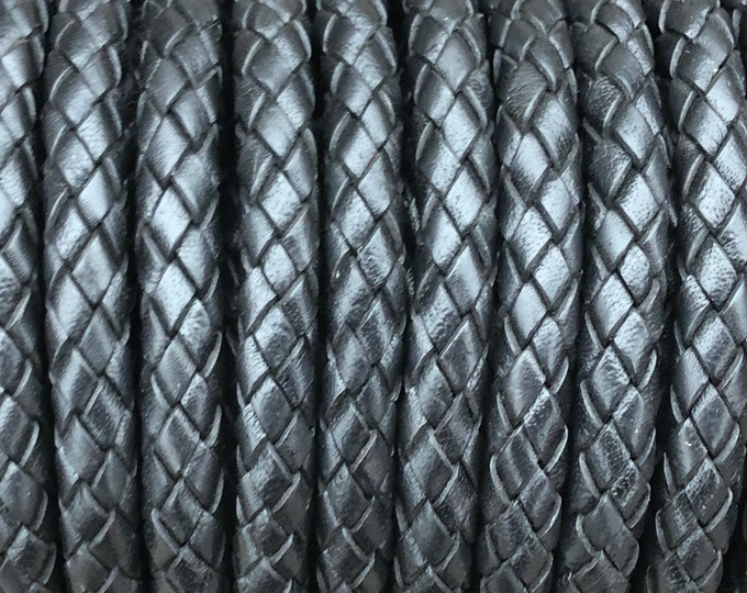 8mm Leather Braided Cord, 8MM Black Bolo Leather, Excellent Quality All Leather, Premium European, One Yard