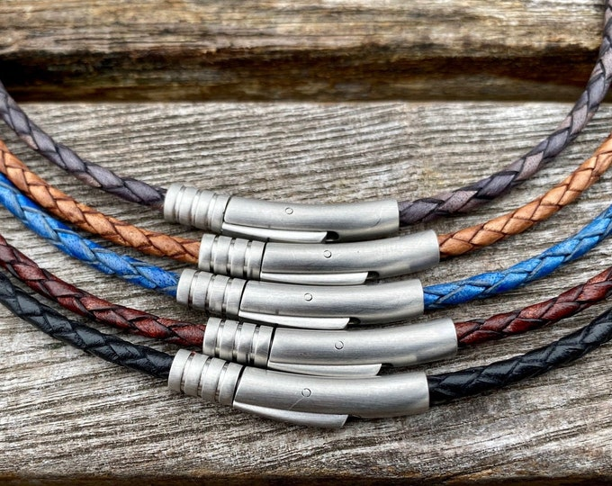 3mm Braided Leather Necklace, Premium European Leather Cord Necklace, Stainless Steel Clasp, Braided Leather Necklace, FREE SHIPPING