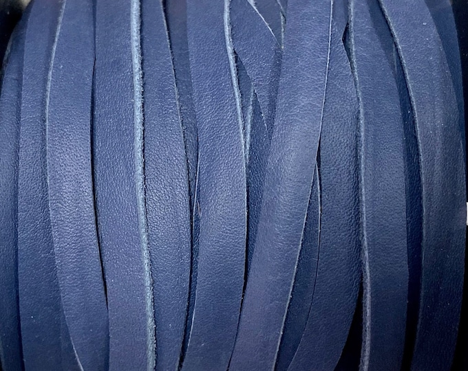 5mm Blue Deertan Lace Flat Leather Cord, 1mm Thick, Blue Water Resistant Italian Calf Hide, Blue