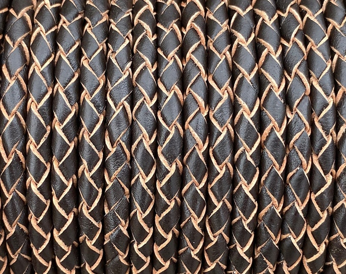 6mm Bolo Braided Leather Cord, Dark Brown Indian Leather Cord, By The Yard, LCBR6 - Dark Brown #10