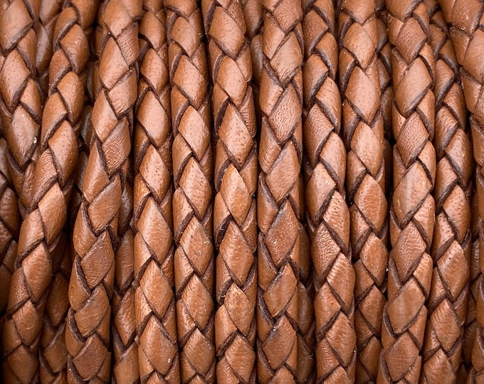 4mm Saddle Brown Bolo Braided Leather - 4mm Premium European Braided Leather Cord All Leather No Filler LCBR-4  Saddle Brown #G