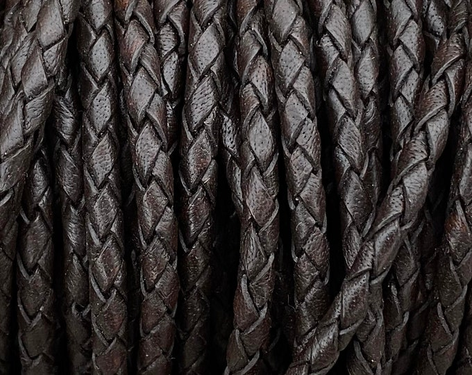 4mm Braided Leather - Dark Brown - Bolo Braided Leather Cord By The Yard - LCBR - 4 Dark Brown #17
