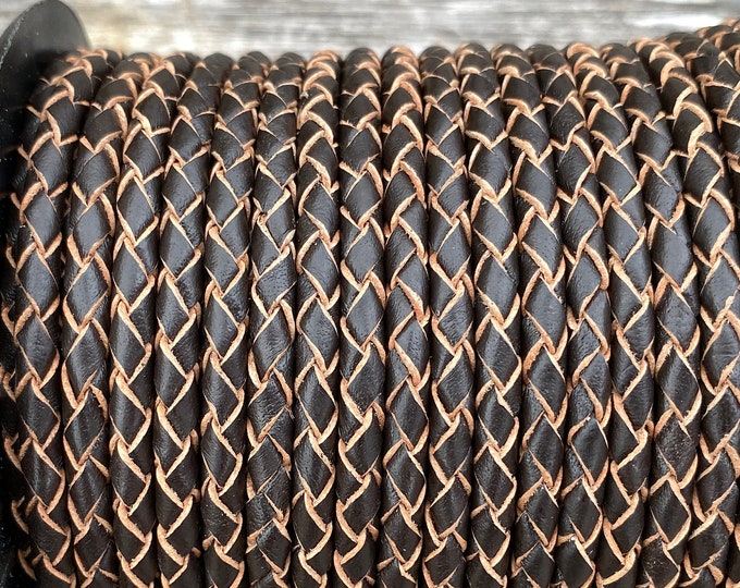 5mm Bolo Braided Leather Cord, Dark Brown Premium Indian Leather Cord, By The Yard, LCBR5 - #13 Dark Brown