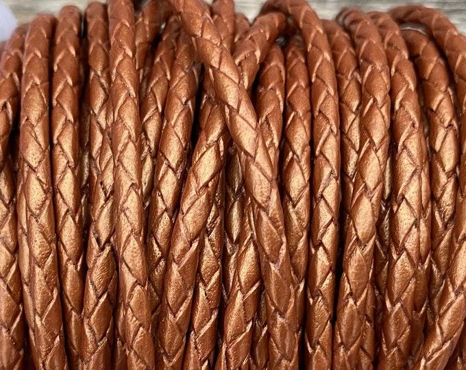 3mm Braided Leather - Metallic Copper - Bolo Braided Leather Cord, Copper Metallic By The Yard - LCBR - 3  Metallic Copper #23