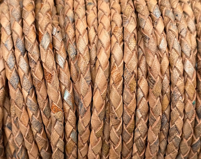 3mm Bolo Braided Leather - Beige Tan Mosaic - 3mm Bolo Braided Leather Cord By The Yard - LCBR-3 Beige Tan Mosaic #22