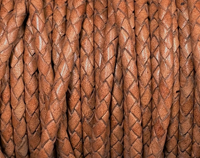 4mm Braided Leather - Premium Natural Light Brown - Bolo Braided Leather Cord  By The Yard - LCBR - 4  Natural Light Brown #Q