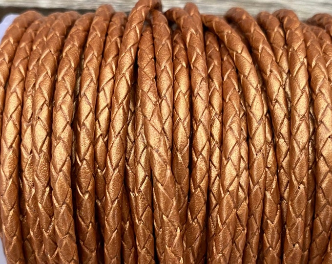 3mm Braided Leather - Bronze Copper - Bolo Braided Leather Cord, Bronze Metallic By The Yard - LCBR - 3  Bronze Metallic #26