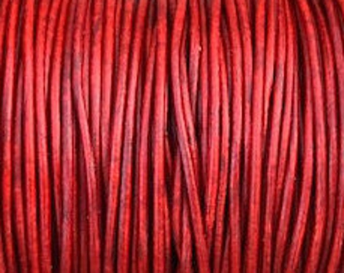 1mm Leather Cord - Natural Red- Premium European Leather Cord - LCR1 -200  #11 Natural Red