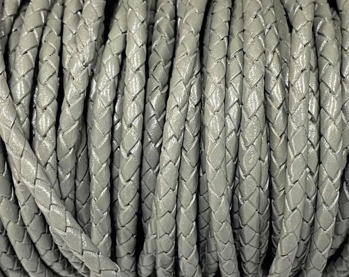 4mm Bolo Braided Leather - Iceberg Gray - Bolo Braided Leather Cord  By The Yard - LCBR 4  Iceberg Gray #21
