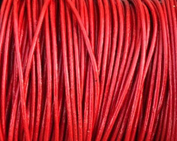 1mm Leather Cord - Red - Premium European Leather Cord - LCR1 -200 #3 Red