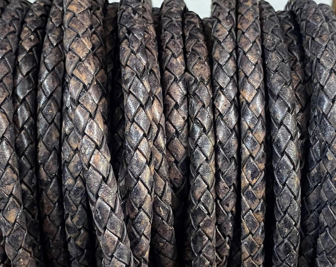 5mm Premium Bolo Braided Leather Cord, Natural Gray Brown 5mm Braided Leather Cord, By The Yard, LCBR5 - 5mm Natural Gray Brown #32