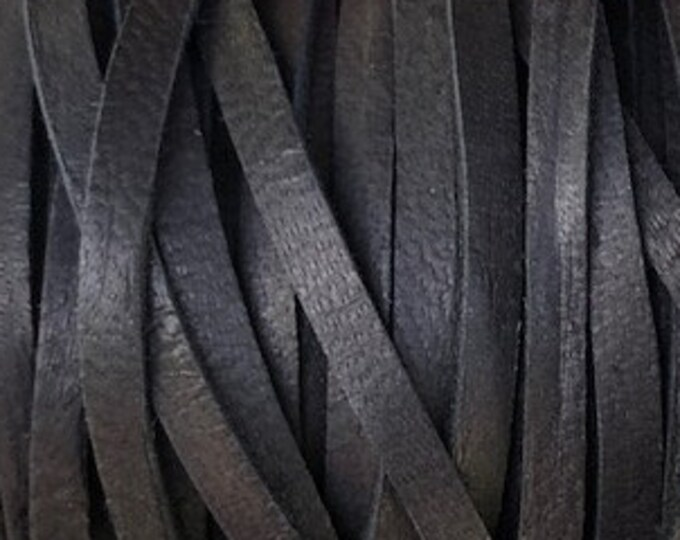 """Deerskin Black 3/16"""" Leather Lace  Black Leather Deer Skin Cord BY THE YARD, Cord Bead, Deer Skin, Leather Supplies, Black"""