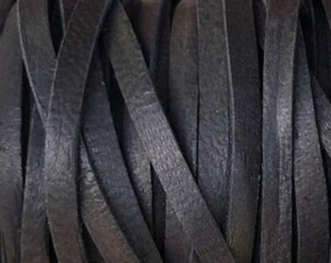 """Deerskin Black 1/8"""" Leather Lace  Black Leather Deer Skin Cord BY THE YARD, Cord Bead, Deer Skin, Leather Supplies, Black"""