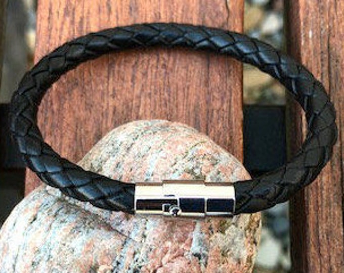 Mens Leather Bracelet With Stainless Steel Magnetic Locking Clasp in 5 Colors Mens Gift Under 20 Leather Gifts For Men CS1