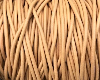 2mm Round Leather Cord - Peach -  Premium European Leather Cord 1 yard to 25 Yards  - LCR3-139