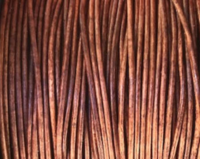 1mm Round Leather Cord - Natural Distressed Brown - 1mm Premium European Leather Cord - LCR1 -200  #15 Natural Distressed Brown