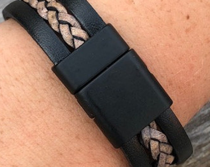 Matt Black Flat Magnetic Clasps, 18 x 25 mm Strong Magnet Clasp For Leather Bracelet , 3x16mm Inner Diameter, magnetic clasp bracelet MC-53