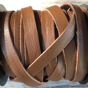 50 Feet Spool of 3MM Brown Flat Genuine Italian Deertan Deer Tan Leather Lace Cord Roll
