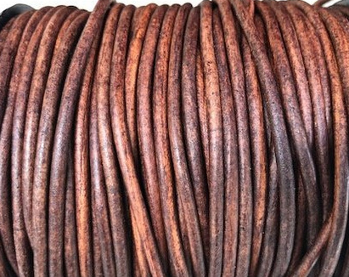 1.5mm Natural Red Brown Round Leather Cord, Premium Quality European Leather Cord By The Yard LCR1.5 - 144 P